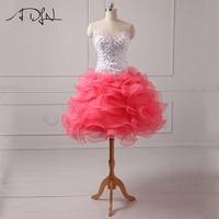ADLN Милая Короткие Коктейльные мини платья A Line органза Вечерние вечернее платье формальное Пышное Платье