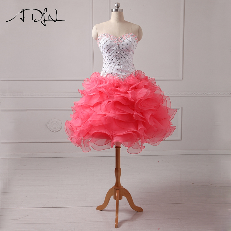 ADLN Sweetheart Short   Cocktail     Dresses   Mini A-line Organza Delicate Beaded Party Gown Formal Pageant   Dress