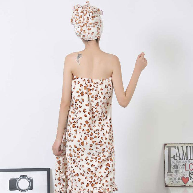 Online Shop Cute Women Bathrobe With Shower Cap Solid Knee-Length ...