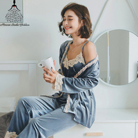 3 Pieces Women Sexy Silk Pajamas Set Robe Long Sleeved Pants Female Nightgown Sleepwear Silk Gold Velvet Homewear Pijamas Sets
