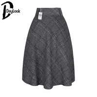 Daylook New Arrival Winter England Style Long Skirts Red Plaid Elegant Skirt Women Front Pockets Woolen