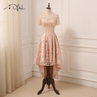 ADLN Real Photo Short Cocktail Dress Boat Neck Short Sleeves Lace A line Party Gowns Fomal Dress Customized Size