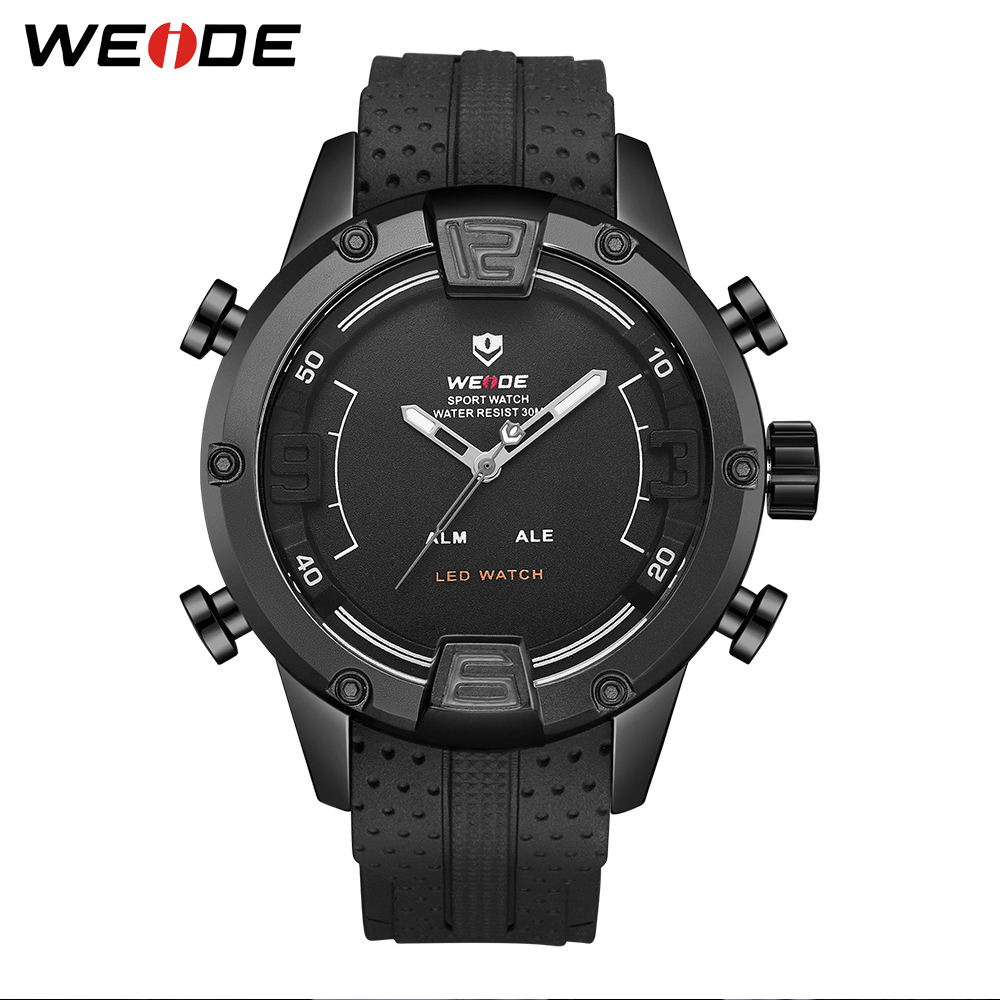 WEIDE Men Sport Watch Business Casual Quartz Digital LED Dual Black Bracelet Strap Wristwatch Clock Military Relogio Masculino brand weide fashion casual men watch black silicone strap 3atm waterproof dual display wristwatch relogio masculino sale items