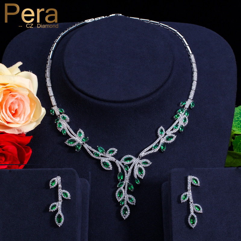 Pera CZ Brand Nigerian And African Women Big Leaf Shape Wedding Party Costume Jewelry Set With Natural Green Cubic Zirconia J138 pera elegant women pearl jewelry set for party gift big leaf shape cubic zirconia long dangle necklace and earrings j233