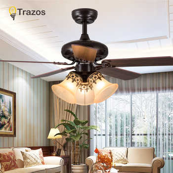TRAZOS Modern 42 Inch Iron Blade black Ceiling Fans With Lights Remote Control Ceiling Light Fan Lamp Ventilador De Teto - DISCOUNT ITEM  26% OFF All Category