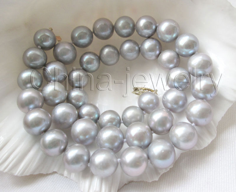 "10X10  jewerly free shipping  Beautiful AAA 17"" 11mm gray round freshwater pearl necklace - Selling clasp"