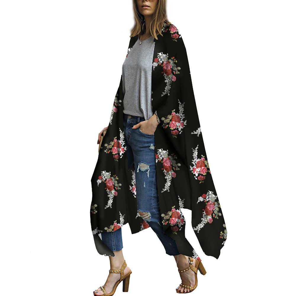 2b03879aa ... Women Long Chiffon Kimono Cape Cardigan Blusa Feminina Casual Shirts  Jackets Long Beach Cover Up Tops ...
