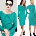S-xxl mulheres elegante outono sólida breve bainha lápis bodycon magro dress partido vestidos de negócios vestidos de trabalho moda c10