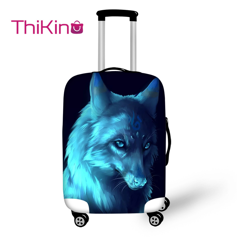 Thikin On The Road Moonlight Wolf Travel Luggage Cover For Girl School Trunk Suitcase Protective Cover Travel Bag Protector