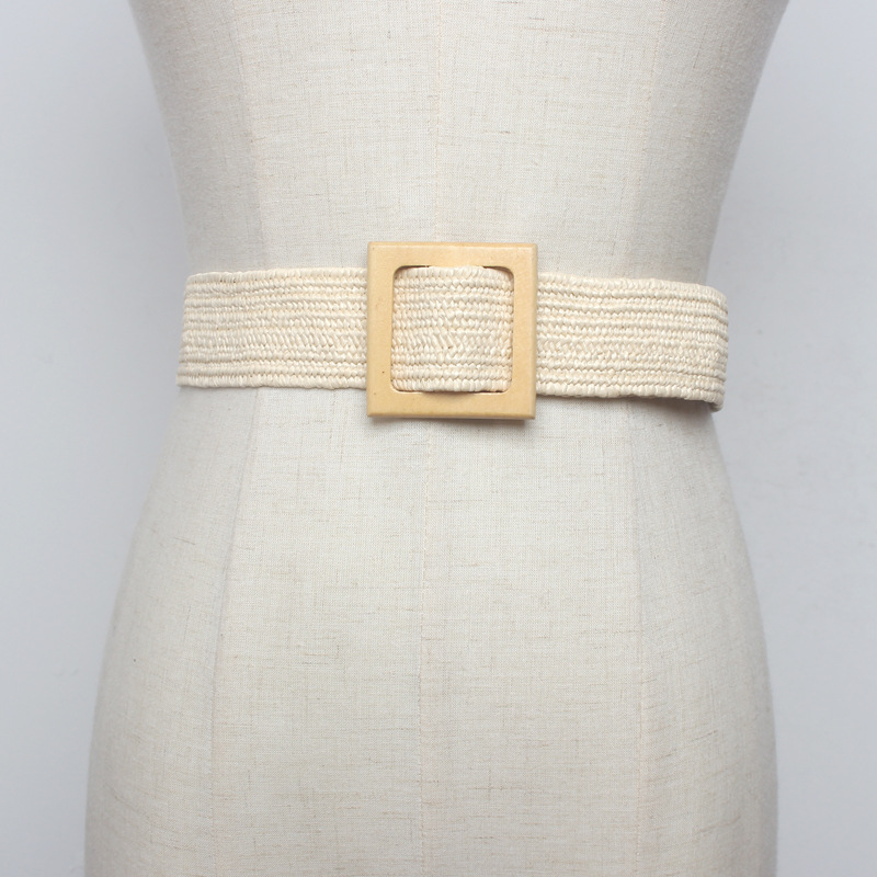 New Vintage Knitted Wax Rope Wooden Bead Waist Rope Women Smooth Buckle Belt Woman Woven Female Hand Beaded Braided Belt BZ51 in Women 39 s Belts from Apparel Accessories