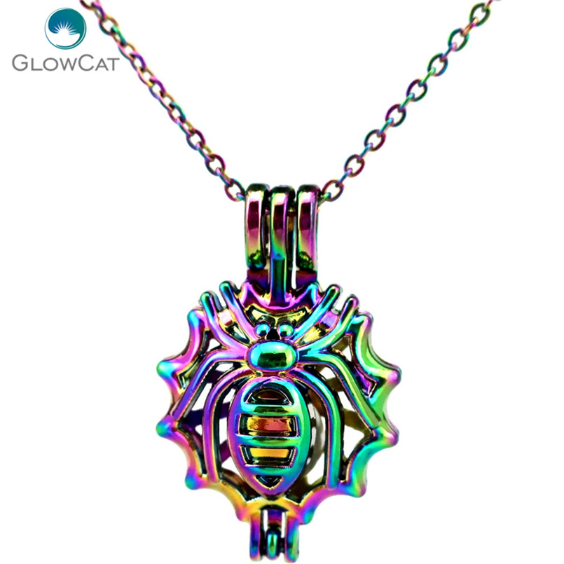 Jewelry & Accessories Strict C555 Rainbow Color 30mm Spider Web Insect Beads Cage Pendant Aroma Essential Oil Diffuser Locket Necklace Convenience Goods Pendant Necklaces