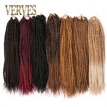 hot deal buy verves box braids hair synthetic 14 inch and 18 inch crochet hair extensions 22 strands/pack ombre braiding hair braids