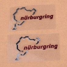 Beler 2 pçs polido chrome nurburgring motor esporte emblema do carro adesivo decalque logotipo acessórios