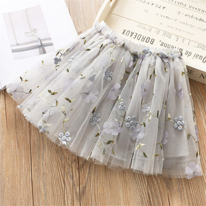 Image 3 - Flower Embroidery Kids skirts for Girls Pettiskirt Children Mesh Skirt Princess Baby tutu skirts Spring and summer