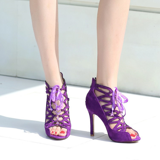 c72b739868a2 PXELENA Strappy Stiletto High Heels Gladiator Sandals Women Shoes Faux  Suede Rome Peep Toe Sandals Hollow Out Purple Large Size