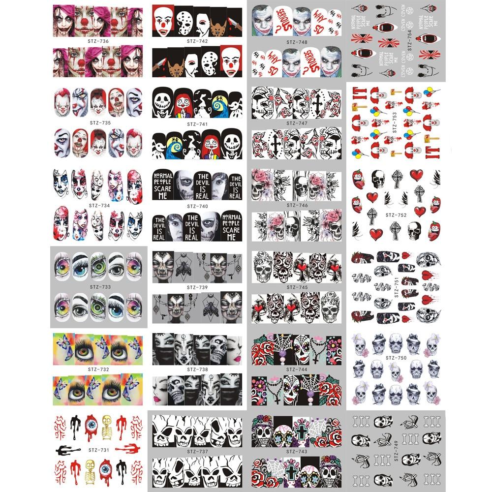 Image 5 - 24 шт ногтей переводная наклейка на ногти Хэллоуин Череп кости тату клоуна ползунки для аксессуары для ногтей JISTZ731 755 on AliExpress