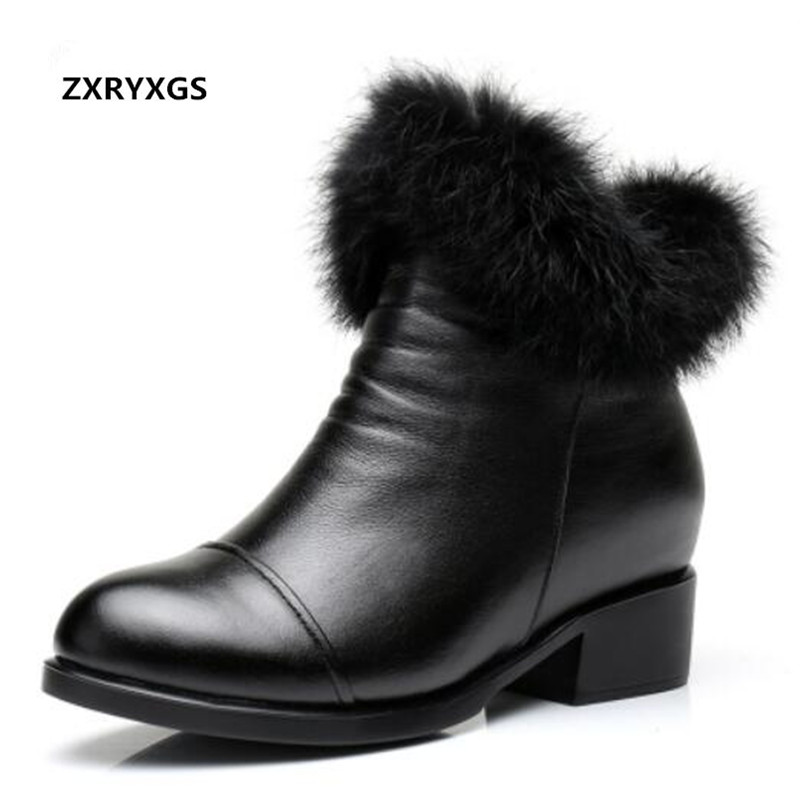 Hot 2018 Newest Winter boots Comfort Soft Real Genuine Leather Shoes Women Boots Fashion Warm Snow