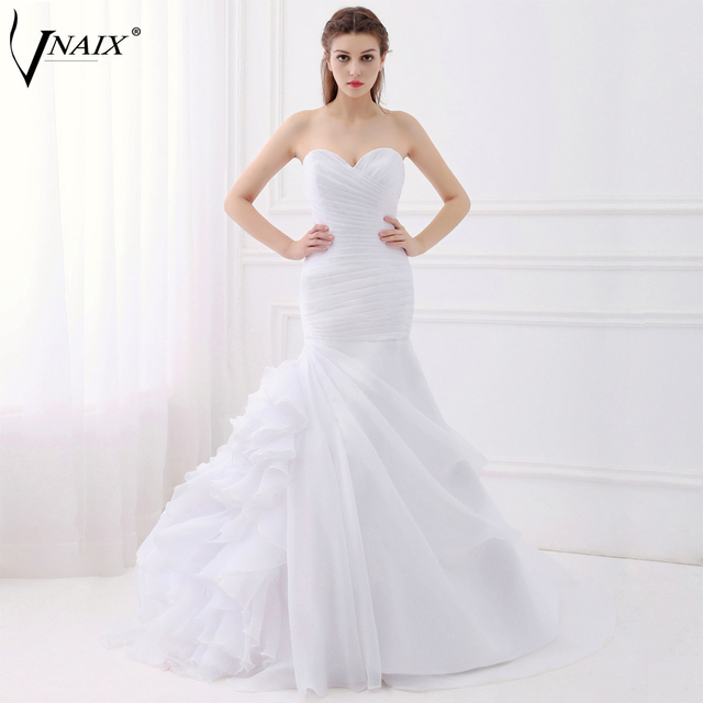 Vnaix WV276 In Stock Mermaid Wedding Dresses with Pleated and Ruffle ...