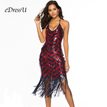 2019 Women Sequined Fringed Dress Open Back Cocktail Party Mid-Calf Tea Length Tassel Club Disco eDressU OSH-18638