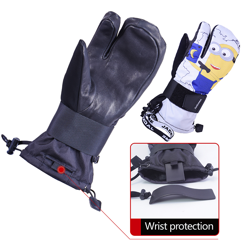 Jackcome Ski Gloves  Waterproof Windproof Skiing Mitten  Leather Warm Snowboard Gloves Wrist Protective