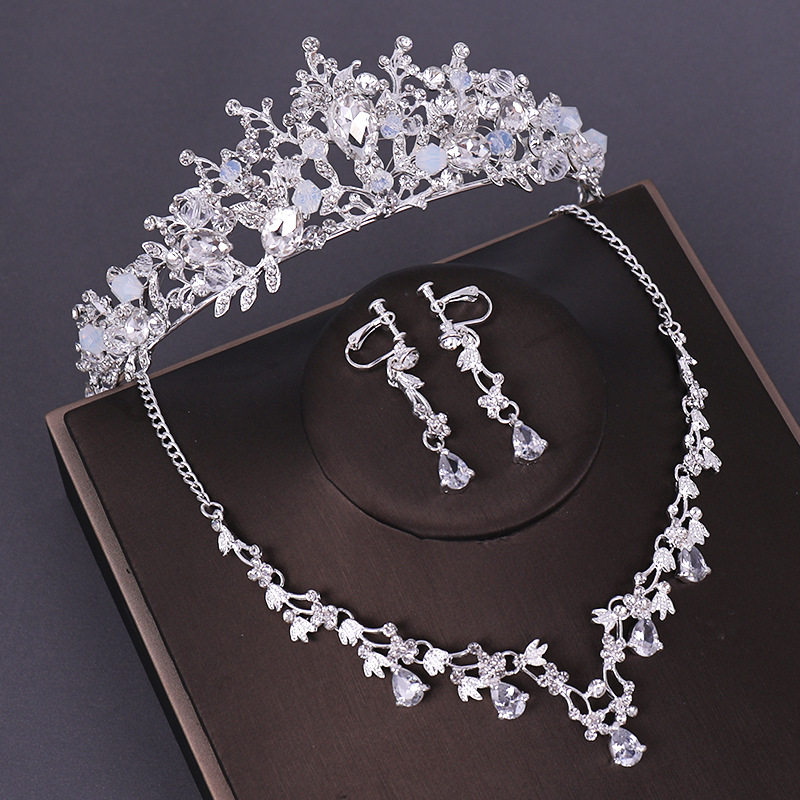 KMVEXO 3PCS Opval Crystal Bridal Wedding Costume Jewelry Sets Necklaces Earrings Tiaras Sets Wedding Engagement Jewelry 2019 New