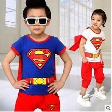 Розничная! Детский комплект одежды для 3-7 лет, летний костюм из чистого хлопка с рисунком Супермена и Человека-паука для маленьких мальчиков и девочек, короткие брюки с рукавами