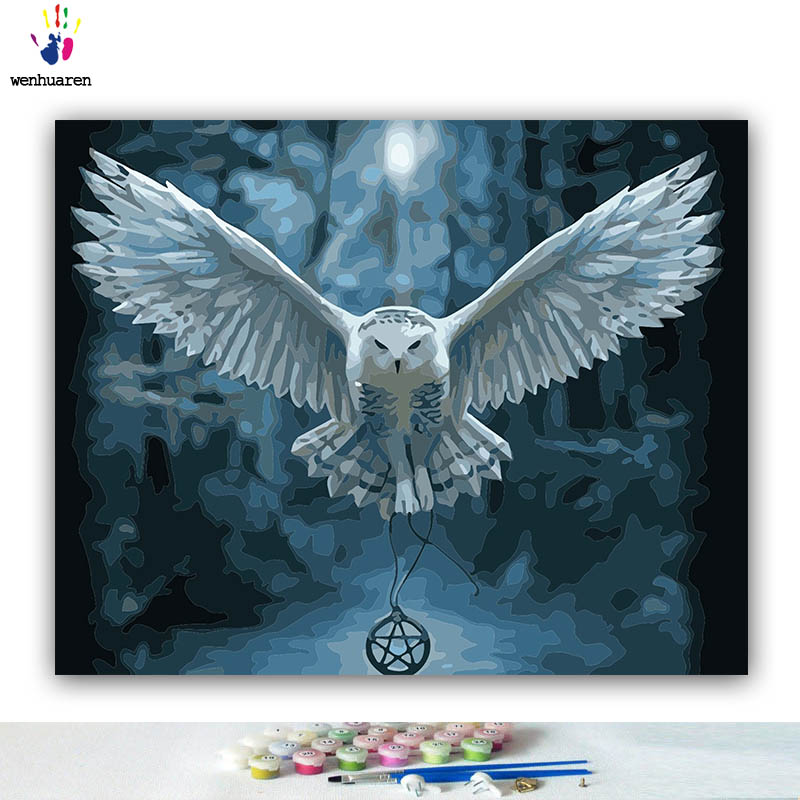 DIY Coloring paint by numbers White owl flying at night pictures Abstract figure paintings by numbers with kits 40x50 framed