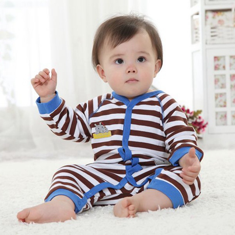 Hippo Brown Stripes Baby Rompers For Boys Long Sleeve Toddler Romper Roupa Macacao Bebe Jumpsuit ...