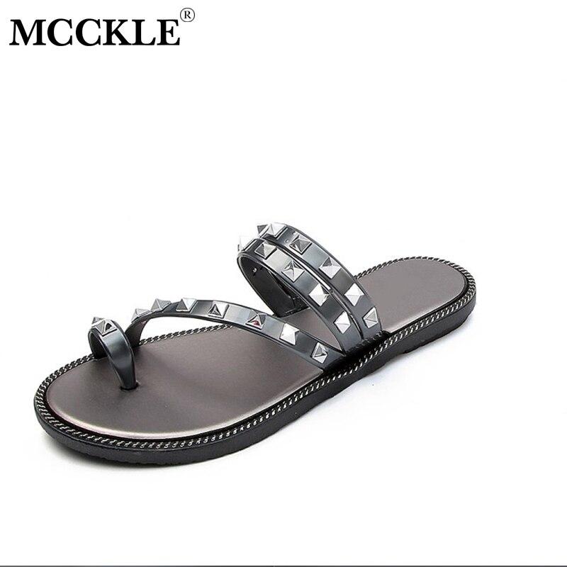 MCCKLE Summer Casual Flat Women Flip Flops Slippers Ladies Rivets Rhinestone Beach Slides Shoes Female Outside Non-slip Footwear