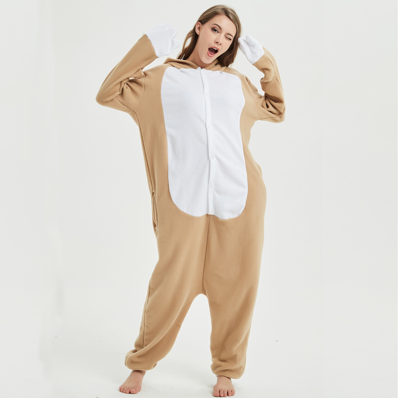 Loose Cartoon Character Sloth Onesies Adult Pajamas Polar Fleece Kigurumi For Halloween Onepiece Winter Jumpsuit Pijama Cosplay (4)