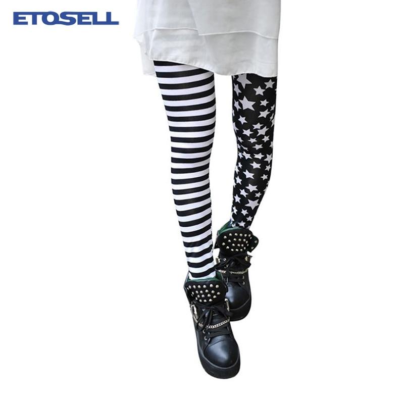 Breathable Spring Summer   Leggings   Women US Fashion Stars Stripes Printed Elastic Fitness Street Punk Legins for Female New Pants