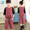 M&F 2017 New Children Red Plaid Clothing Suits Kids Shirts + Trousers Spring Style Fashion Cotton Children Sets