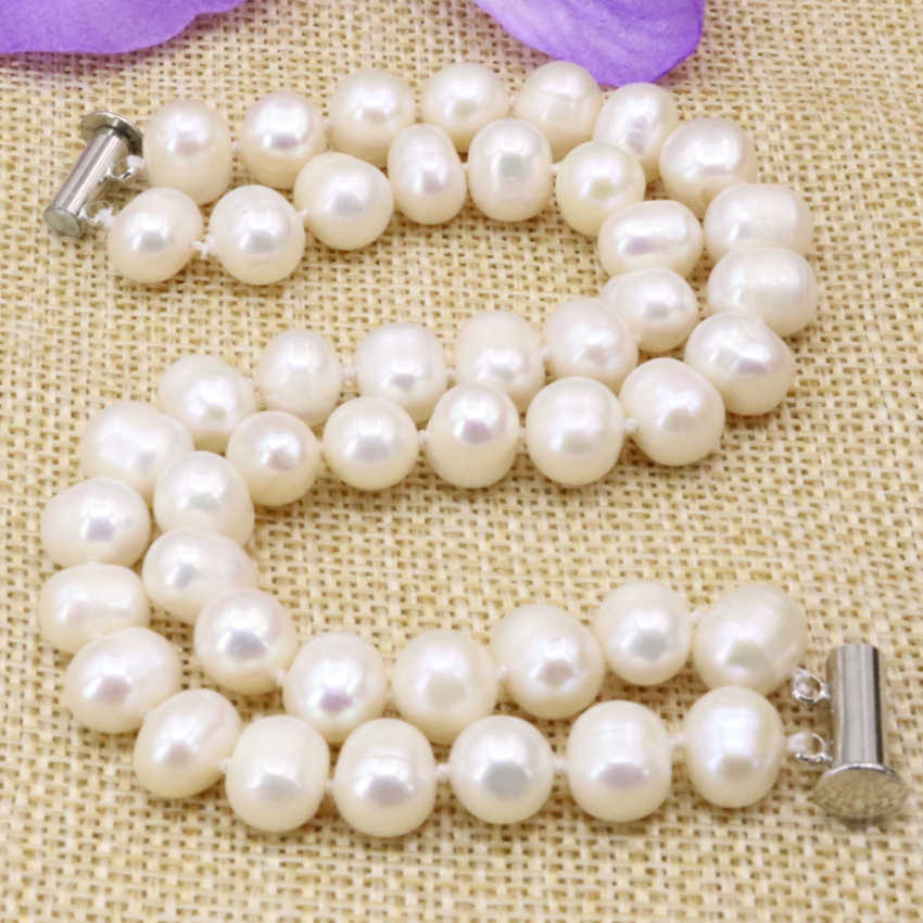 Charms natural white 8-9mm nearround pearl beads strand 2 rows bracelets & bangle for women high quality jewelry 7.5inch B3178