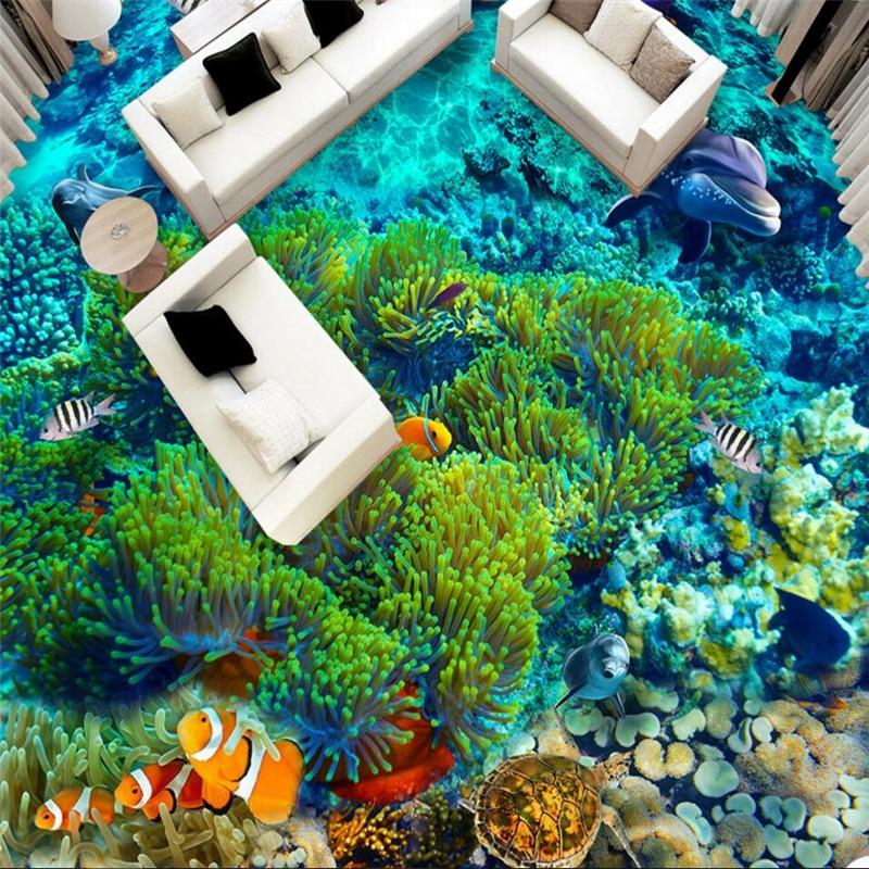 Купить с кэшбэком wellyu Custom large-scale mural pvc underwater world tropical fish 3D floor tiles waterproof thick floor stickers