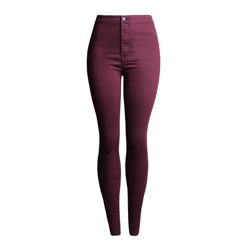 fef9ec930422a Joli élégant multi couleur femmes Skinny crayon pantalon taille haute  élastique Slim Leggings décontracté pieds pantalon femme coton Denim  pantalon dans ...