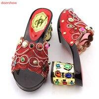 Doershow Sandali di COLORE ROSSO partito o di cerimonia nuziale bella design Italiano cuoio DELL'UNITÀ di elaborazione adulti scarpe donna Africana scarpe KGB1-20