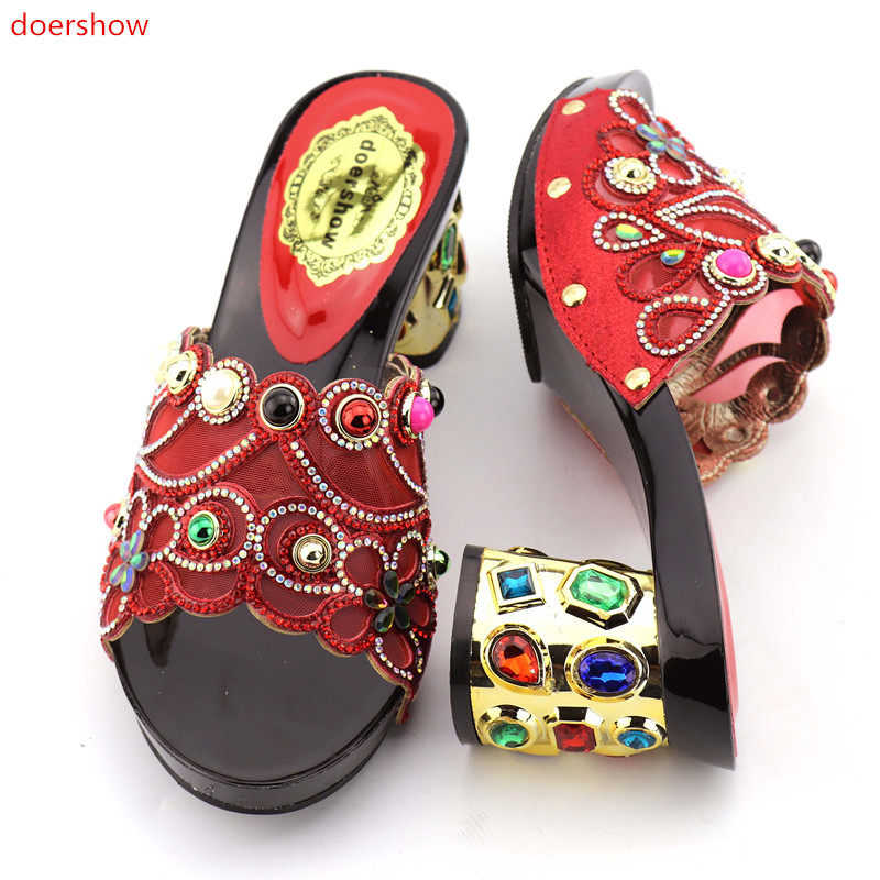 doershow Sandals RED COLOR party or wedding beautiful Italian design PU leather adults shoes African woman shoes KGB1-20 doershow african shoes and bags fashion italian matching shoes and bag set nigerian high heels for wedding dress puw1 19