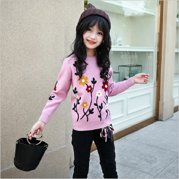 Winter Sweater Girls Children Garment Sweater Jacquard Warm Thick Sweater Floral Girls Cardigan Sweaters Thick Pullover Clothes