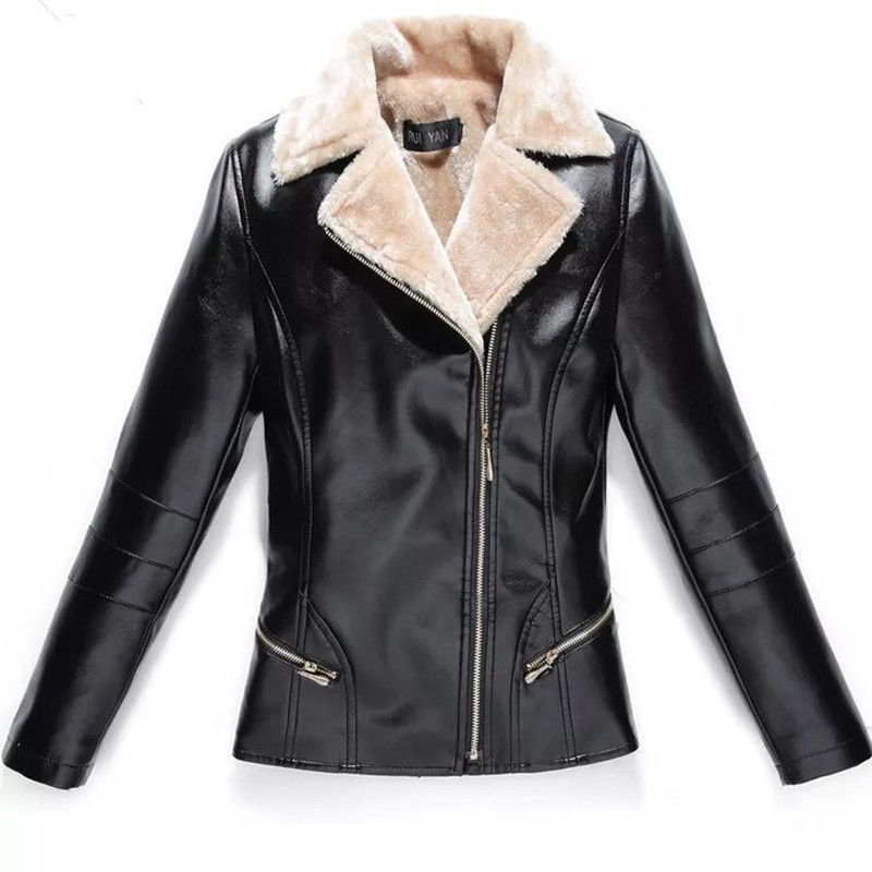 L-7XL Winter Women Leather Jacket Plus Velvet Warm Female Faux Leather Jackets Fashion Turn Collar Office Lady Coat Black Red
