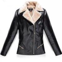 L 7XL Winter Women Leather Jacket Plus Velvet Warm Female Faux Leather Jackets Fashion Turn Collar Office Lady Coat Black Red