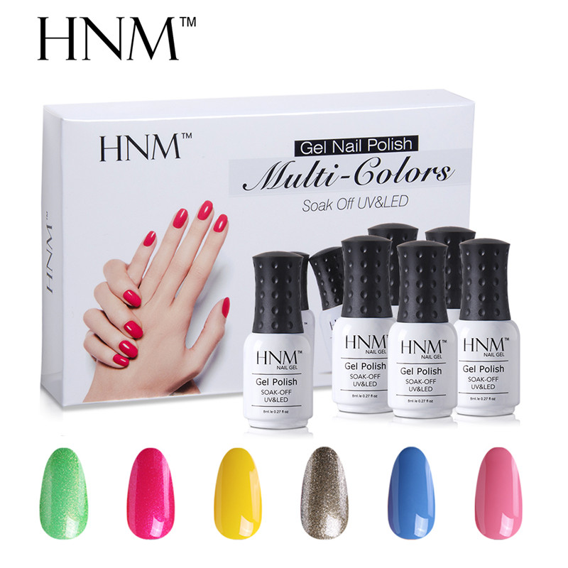 HNM 6pcs/set Nail Art Pure Color 8ML Gel Varnish Sets Nail Polish Kit Manicure UV Gel Lucky Gel Varnish Lacquer DIY For Nail Kit