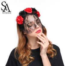SA SILVERAGE Red/Black Flower Hairbands for Woman Halloween Headdress Rose Lace Veil Hair Accessories Trendy 2018 New(China)