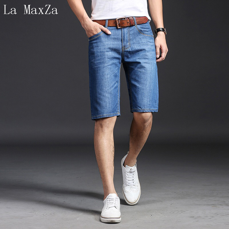 Biker Jeans Men High Quality Denim Short Men Jeans Straight Pure Color Men Short Jeans ...