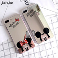 JAMULAR Cartoon Mickey Minnie Mouse Mirror Case For iPhone 7 8 Plus 5S SE X Soft Silicone Cases For iPhone 6 6S XS MAX XR Shell