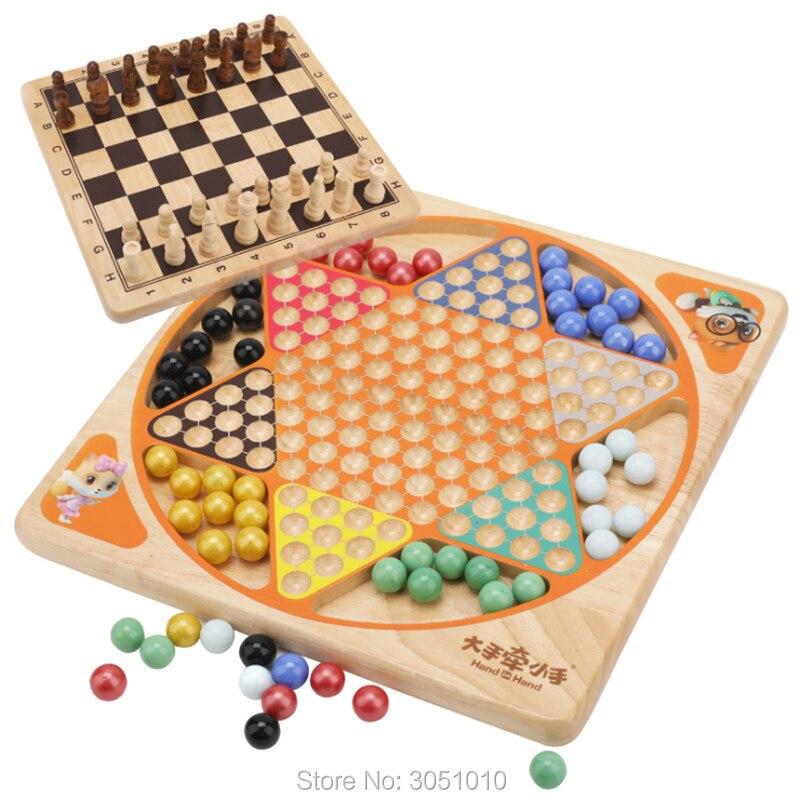 Nouveauté 1 jeu de dames d'échecs en bois de haute qualité jeu d'échecs de plateau de Grain de bois Puzzle jouet pour enfants ensemble de jeu de famille