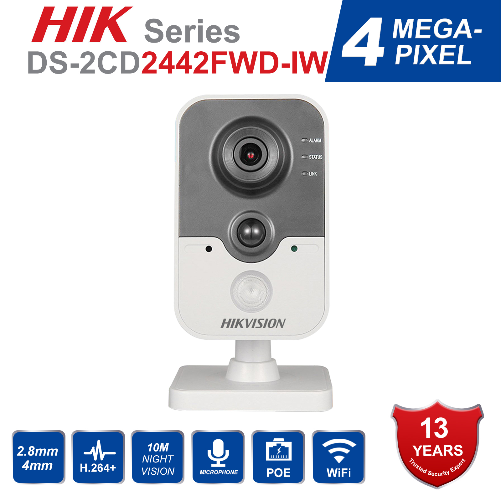 D'origine HIK caméra de sécurité sans fil DS-2CD2442FWD-IW poe IP caméra onvif Intérieur 4MP IR Cube WiFi beveiligings cam