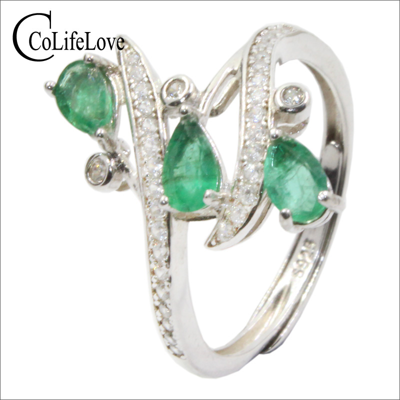 CoLife Jewelry Fashion Emerald Ring for Party 3 Pieces Natural Emerald Silver Ring Solid 925 Silver