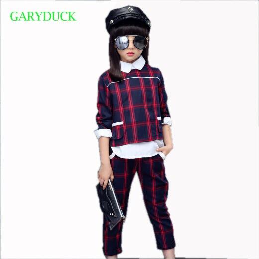 GARYDUCK Children clothing sets 2017 new Korean girl spring fashion vest three-piece suits Kids girls autumn cotton T-shirt 2015 fashion baby spring three pieces suits korean printed cardigan shirts