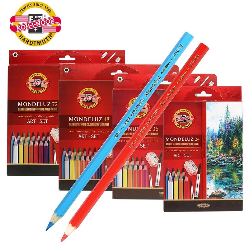 Koh-i-noor WaterColor Pencils 24/36/48/72 Set Water Soluble Mondeluz Aquarell Priscolor Pastille Drawing Pencil Art Supplies