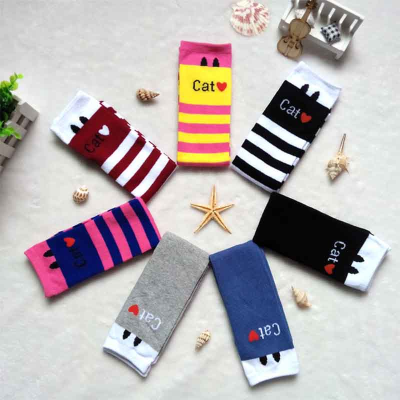 DreamShining Cartoon Baby Socks Kids Children Girls Sock Cotton Princess Stripes Cat Pattern Knee High Socks Sweat Absorption